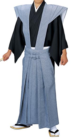 踊り衣裳 裃 牧印 青 取り寄せ商品 日本の踊り 掲載 稽古 習い事 舞踊 民謡 発表会《男性用 メンズ 洗える着物》 ポイント20倍 ポイント20倍