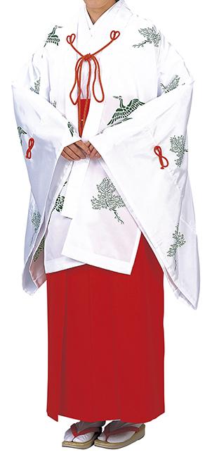 神寺用衣裳 千早 千印 白 取り寄せ商品 日本の踊り 掲載 寺 神社 巫女《女性用 レディース 洗える着物》 ポイント20倍 ポイント20倍 送料無料