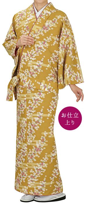 踊り衣裳 二部式きもの小紋 袷せ仕立 時印 黄色 取り寄せ商品 日本の踊り 掲載 踊り絵羽 稽古 習い事 舞踊 民謡 発表会《女性用 レディース 洗える着物》 ポイント20倍 ポイント20倍