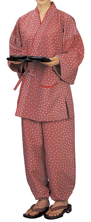 踊り衣裳 割烹用作務衣 膳印 ピンク(小花柄) 取り寄せ商品 日本の踊り 掲載 割烹料理店 和食店 制服 作務衣 メール便不可《女性用 レディース 洗える着物》 ポイント20倍