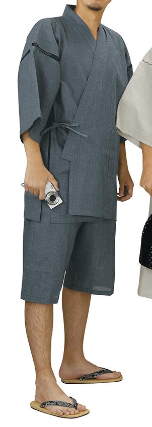 踊り衣裳 しじら織甚平 甚印 グレー 取り寄せ商品 日本の踊り 掲載 夏祭り 甚平 普段着 メール便不可《男性用 メンズ》 ポイント20倍