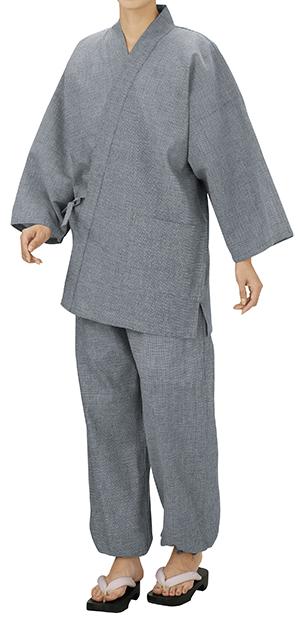踊り衣裳 しじら織作務衣 相印 ライトグレー 取り寄せ商品 日本の踊り 掲載 作務衣 普段着 メール便不可《男性用 女性用 メンズ レディース》 ポイント20倍