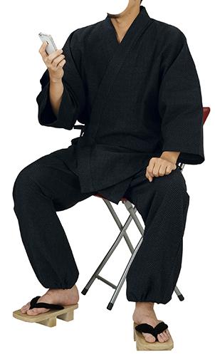 踊り衣裳 先染 ドット柄作務衣 伝印 黒 取り寄せ商品 日本の踊り 掲載 作務衣 普段着 メール便不可《男性用 女性用 メンズ レディース》 ポイント20倍