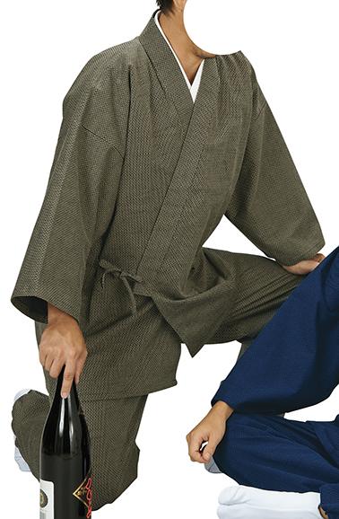 踊り衣裳 ドビー織作務衣 作印 茶 取り寄せ商品 日本の踊り 掲載 作務衣 普段着 メール便不可《男性用 女性用 メンズ レディース》 ポイント20倍
