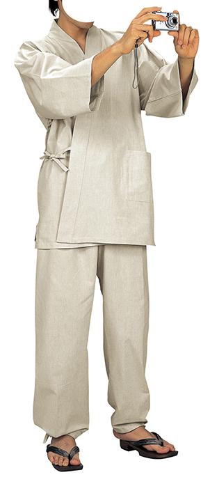 踊り衣裳 作務衣 務印 LLサイズ 生成 取り寄せ商品 日本の踊り 掲載 作務衣 普段着 メール便不可《男性用 女性用 メンズ レディース》 ポイント20倍