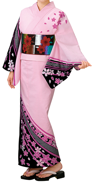かわいいピンクの浴衣です。 踊り衣裳 反物 王印 本絵羽ゆかた 薄ピンク×黒 取り寄せ商品 日本の踊り 掲載 踊り絵羽 稽古 習い事 舞踊 民謡 浴衣 盆踊り《女性用 レディース》 ポイント20倍 メール便不可 送料無料