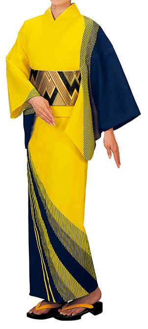 鮮やかな黄色が舞台に映える浴衣です。 踊り衣裳 反物 表印 本絵羽ゆかた 黄×黒 取り寄せ商品 日本の踊り 掲載 踊り絵羽 稽古 習い事 舞踊 民謡 浴衣 盆踊り《女性用 レディース》 ポイント20倍 メール便不可 送料無料