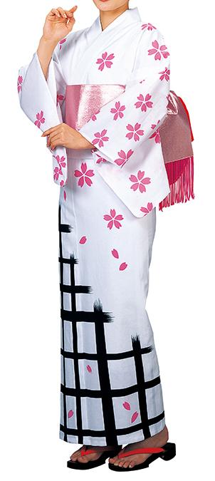 踊り衣裳 反物 公印 本絵羽ゆかた 白×ピンク・黒 取り寄せ商品 日本の踊り 掲載 踊り絵羽 稽古 習い事 舞踊 民謡 浴衣 盆踊り《女性用 レディース》 ポイント20倍 メール便不可