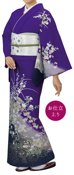 踊り衣裳 お仕立上り着物 都印 一越本絵羽 紫 取り寄せ商品 日本の踊り 掲載 踊り絵羽 稽古 習い事 舞踊 民謡 発表会《女性用 レディース 洗える着物》 ポイント20倍 ポイント20倍