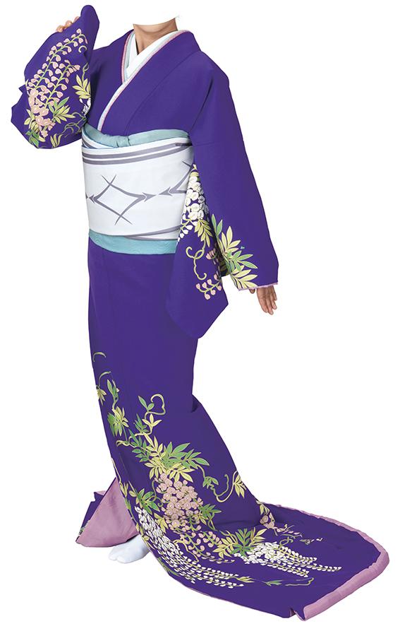 踊り衣裳 お仕立上り着物 姿印 高級裾引衣裳 紫 取り寄せ商品 日本の踊り 掲載 踊り絵羽 稽古 習い事 舞踊 民謡 発表会《女性用 レディース 洗える着物》 ポイント20倍