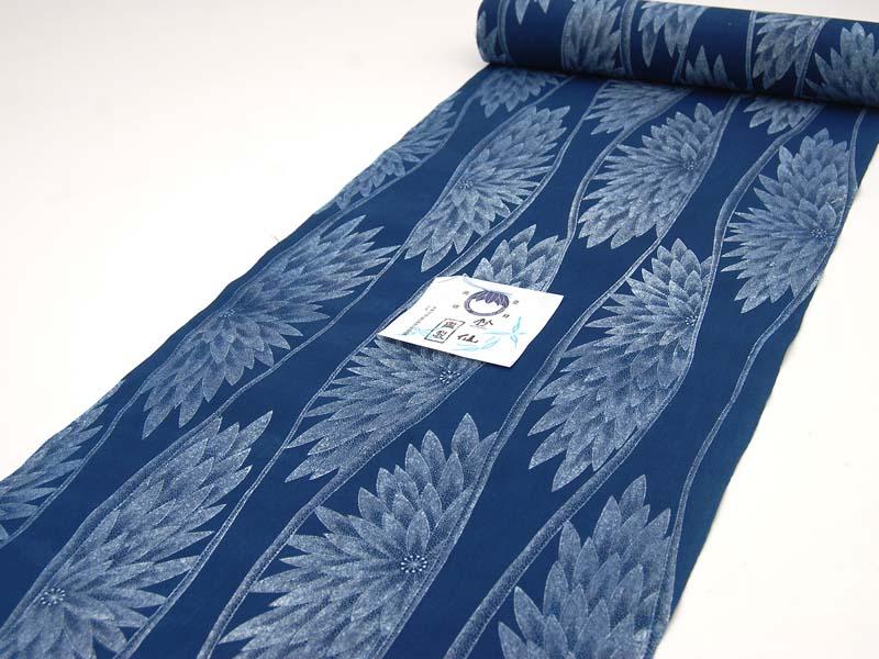 反物(竺仙) (長板本染中形・小紋中形)藍・立涌に菊 浴衣反物