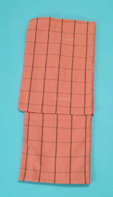 女浴衣 夏着物 綿ちりめん (サーモン地に格子) S・L 日本製 レディースゆかた トッカ