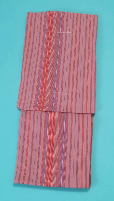 送料無料 女浴衣 夏着物 綿ちりめん (ピンク地に縞) S・L 日本製 レディースゆかた