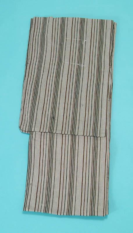 女浴衣 夏着物 綿ちりめん (グレー地に縞) S・L 日本製 レディースゆかた トッカ