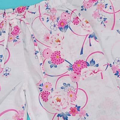 甚平 (for the woman) thin light blue ground floral design string last price