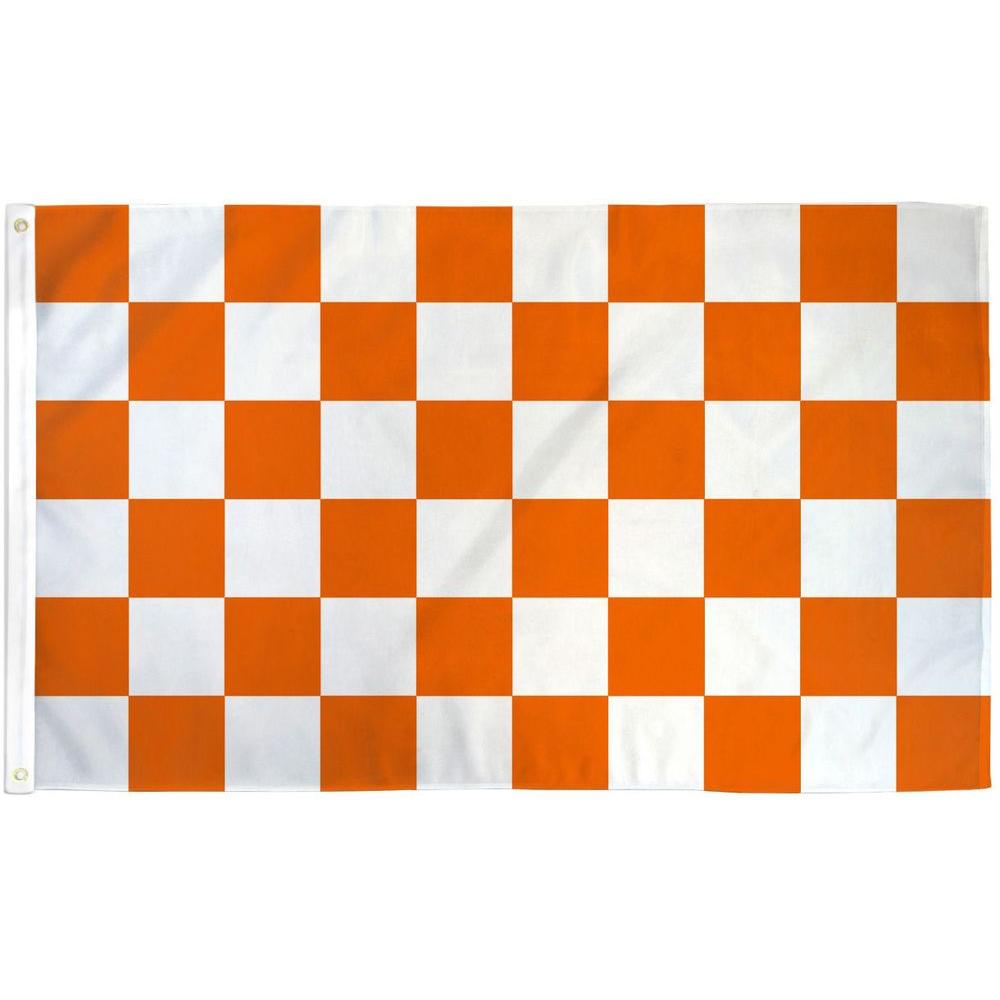 爆売り 5☆大好評 セール中の呼び込み旗や スポーツ観戦の応援旗などに アメリカンフラッグ オレンジ白チェッカー メール便可 Orange 3×5ft White Checkered Flag 150×90cm