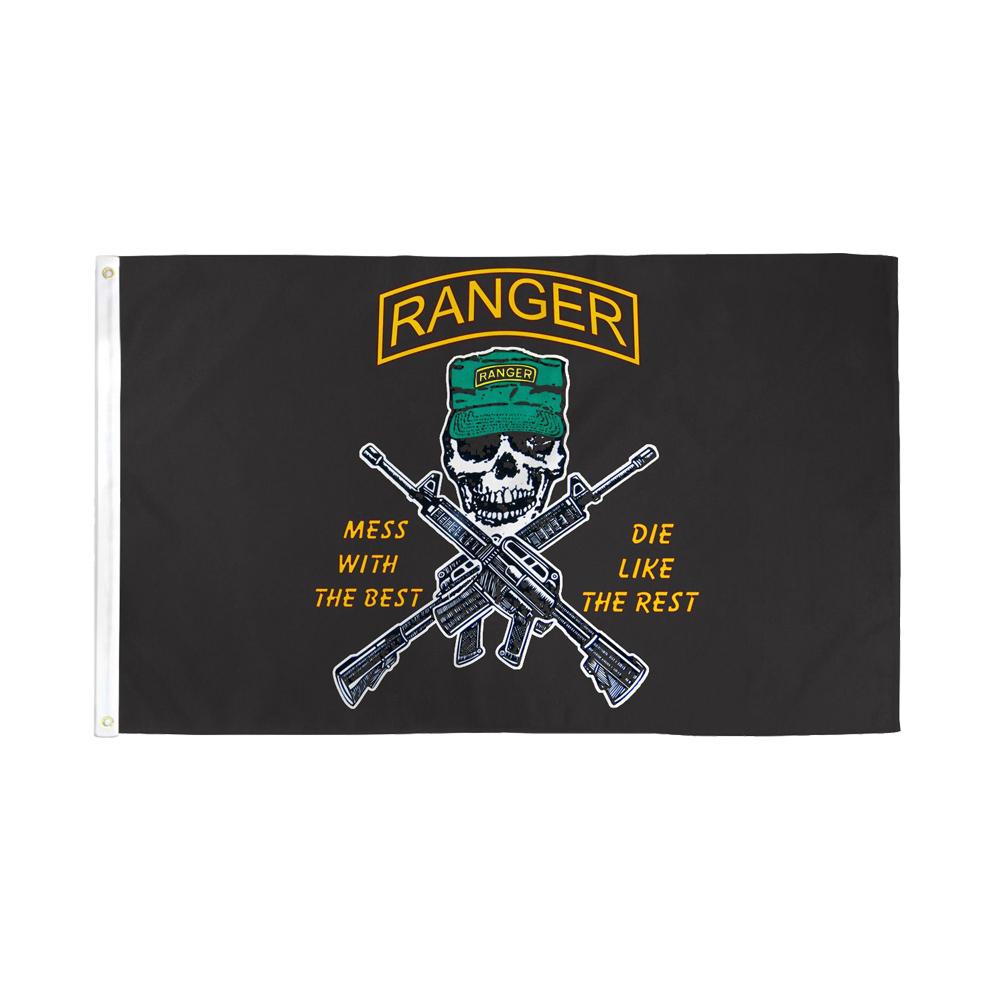 イベントやサバゲー 安値 ショップや店舗装飾に アメリカンフラッグ ミリタリー 旗 レンジャースカル メール便可 Ranger Flag Mess Like the a with 150×90cm 買い取り Best Die 3×5ft Rest