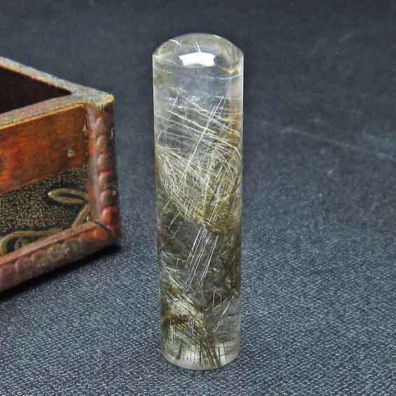 プラチナルチルクォーツ 印材 水晶 クリスタルクォーツ 15mm 147-24
