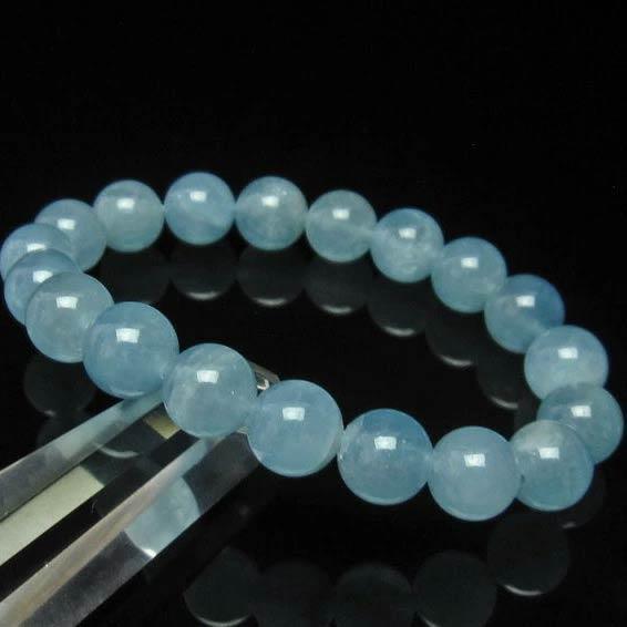 アクアマリン ブレスレット 10mm ブルーベリル メンズ レディース Aquamarine ブレス 藍玉 [送料無料] 111-2551