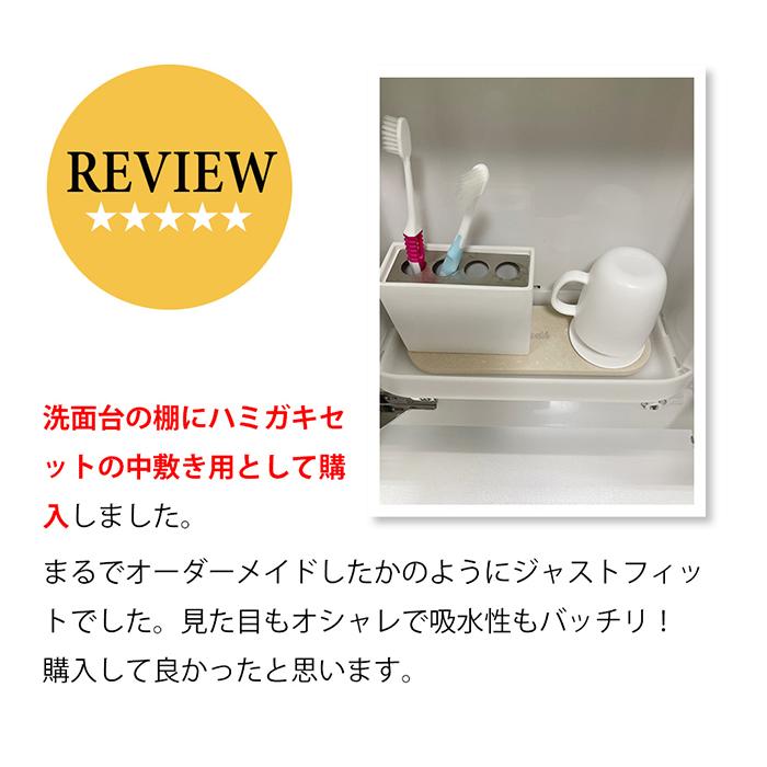 レビュー紹介:洗面台棚の歯磨きセットの中敷きとして