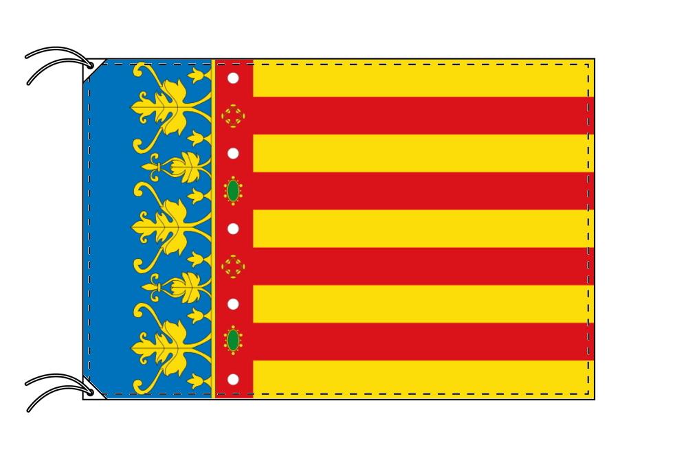スペイン・自治州旗 バレンシア州(100×150cm・高級テトロン・日本製)