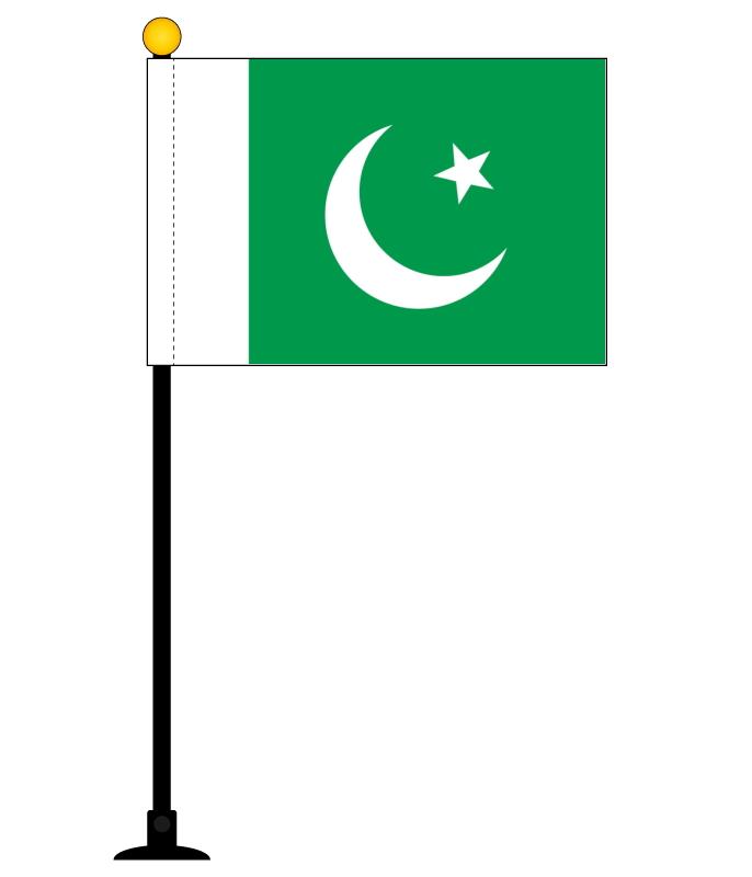 インテリアに最適 ポール 吸盤付きフラッグ 半額 パキスタン 国旗 ミニフラッグ ポール27cm 吸盤のセット 人気ショップが最安値挑戦 テトロンスエード製 日本製 旗サイズ10.5×15.7cm 世界の国旗シリーズ