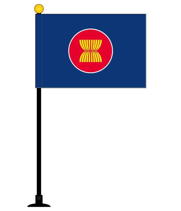 Asean Asean Southeast Asia Nations Association Mini Flag Pole 270 Mm With Suction Cup And Made Of High Quality Polyester Flag Size 105 X 157 Mm