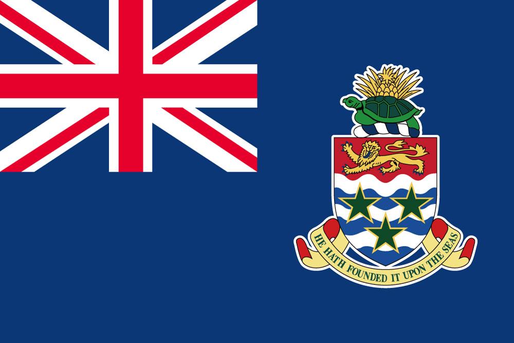 ケイマン諸島・国旗セット[DX]【アルミ合金ポール・取付部品付・テトロン国旗 サイズ70×105cm】日本製 IOC加盟地域