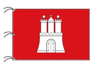 ドイツ・州旗 自由ハンザ都市ハンブルク(140×210cm・高級テトロン・日本製)