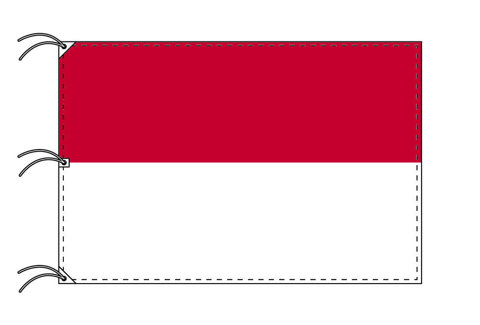 世界の国旗 モナコ国旗[200×300cm・高級テトロン製]NO.6号