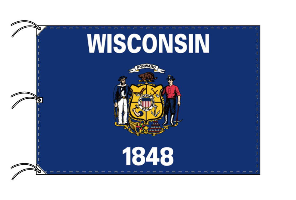 ウィスコンシン州旗[アメリカ合衆国の州旗・140×210cm・高級テトロン製]