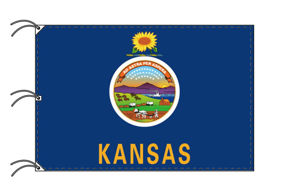 カンザス州旗[アメリカ合衆国の州旗・140×210cm・高級テトロン製]
