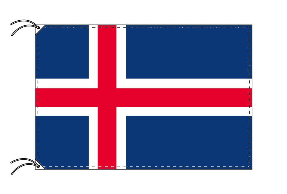 アイスランド・高級大型国旗セット(サイズ90×135cm・ポール・新型フロアスタンド付き)