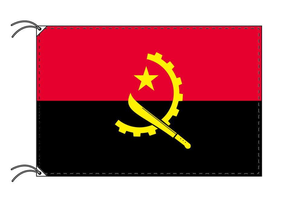 アンゴラ・高級大型国旗セット(サイズ90×135cm・ポール・新型フロアスタンド付き)