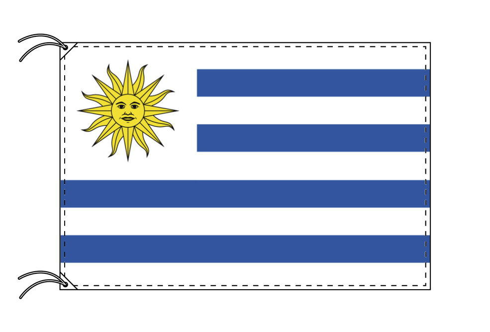 ウルグアイ・国旗セット[DX]【アルミ合金ポール・取付部品付・テトロン国旗 サイズ70×105cm】安心の日本製