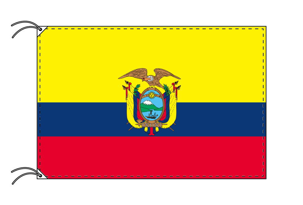 エクアドル・国旗セット[DX]【アルミ合金ポール・取付部品付・テトロン国旗 サイズ70×105cm】安心の日本製