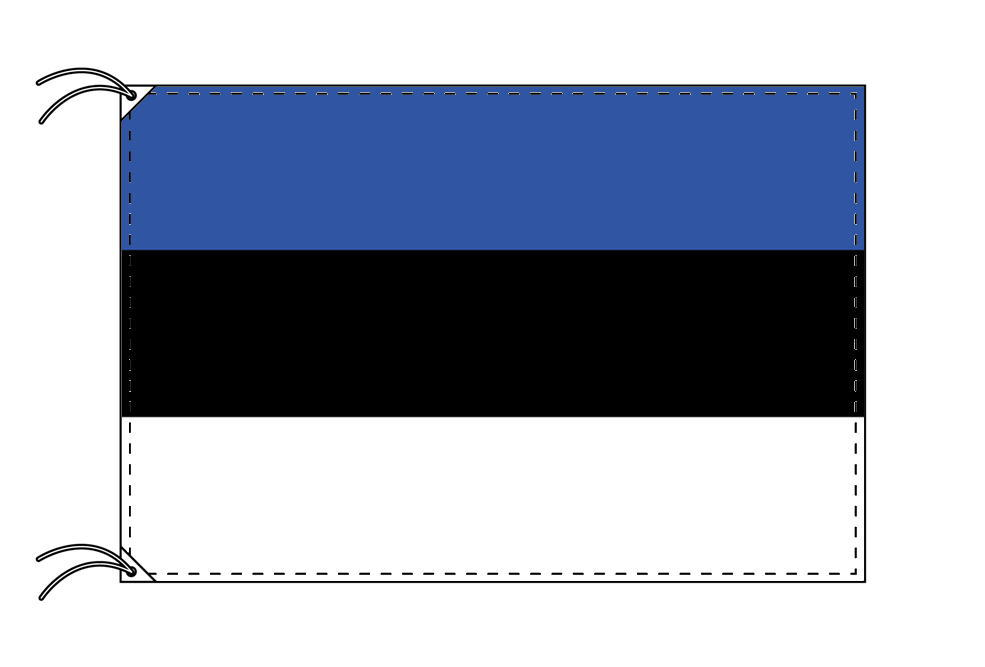 エストニア・高級大型国旗セット(サイズ90×135cm・ポール・新型フロアスタンド付き)