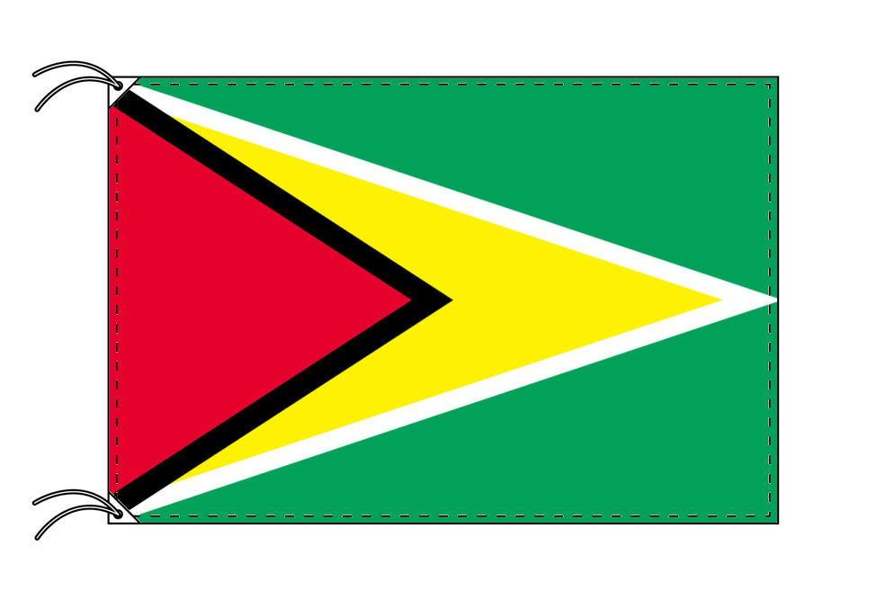 ガイアナ・高級大型国旗セット(サイズ90×135cm・ポール・新型フロアスタンド付き)