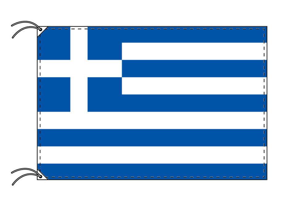 ギリシャ・高級大型国旗セット(サイズ90×135cm・ポール・新型フロアスタンド付き)