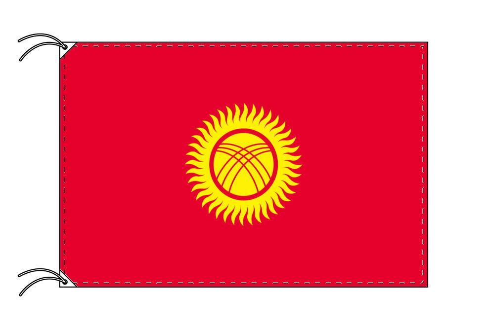 キルギスタン・高級国旗セット(国旗70×105cm・ポール・竿頭・新型フロアスタンド付き)