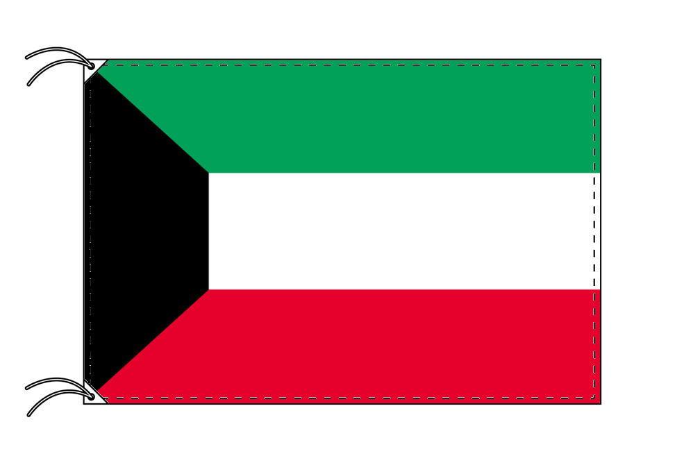 クウェート・高級大型国旗セット(サイズ90×135cm・ポール・新型フロアスタンド付き)