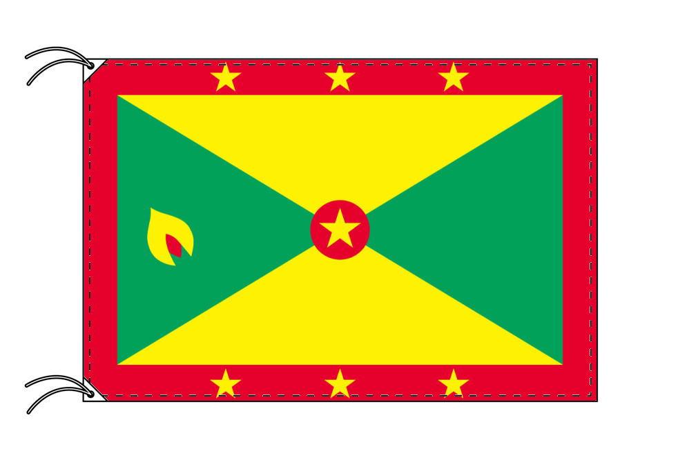 グレナダ・高級国旗セット(国旗70×105cm・ポール・竿頭・新型フロアスタンド付き)