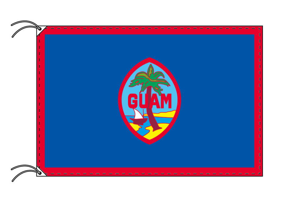 グァム・高級国旗セット(国旗70×105cm・ポール・竿頭・新型フロアスタンド付き)