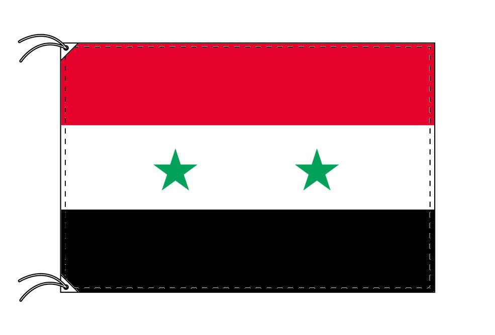 シリア・国旗セット[DX]【アルミ合金ポール・取付部品付・テトロン国旗 サイズ70×105cm】安心の日本製