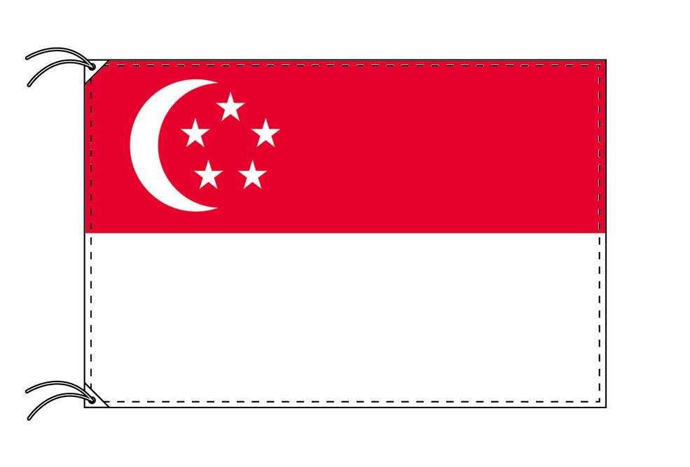 シンガポール・高級大型国旗セット(サイズ90×135cm・ポール・新型フロアスタンド付き)