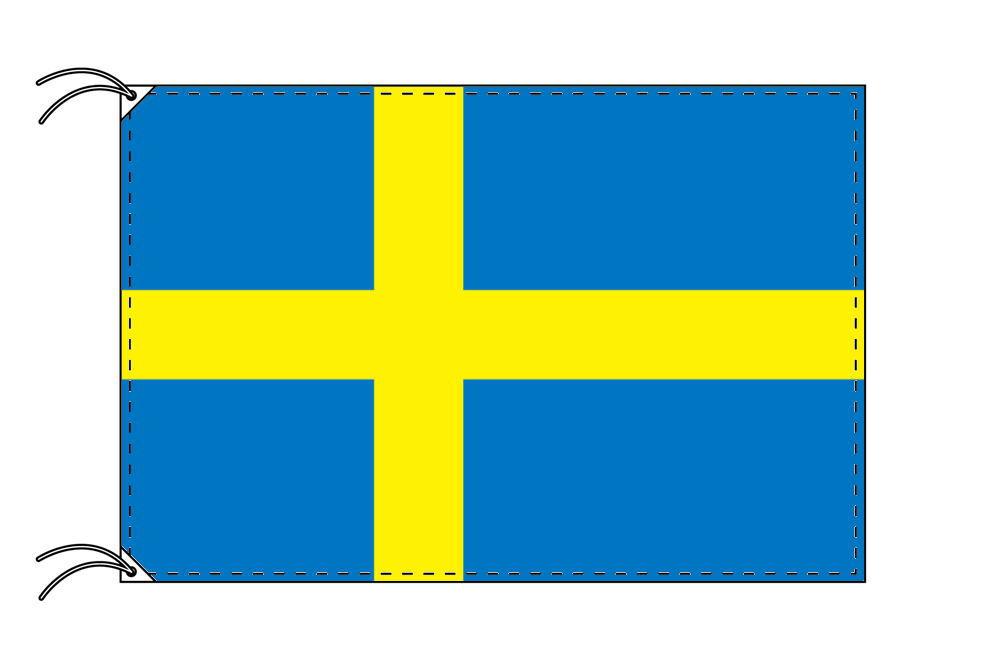 スウェーデン・高級国旗セット(国旗70×105cm・ポール・竿頭・新型フロアスタンド付き)