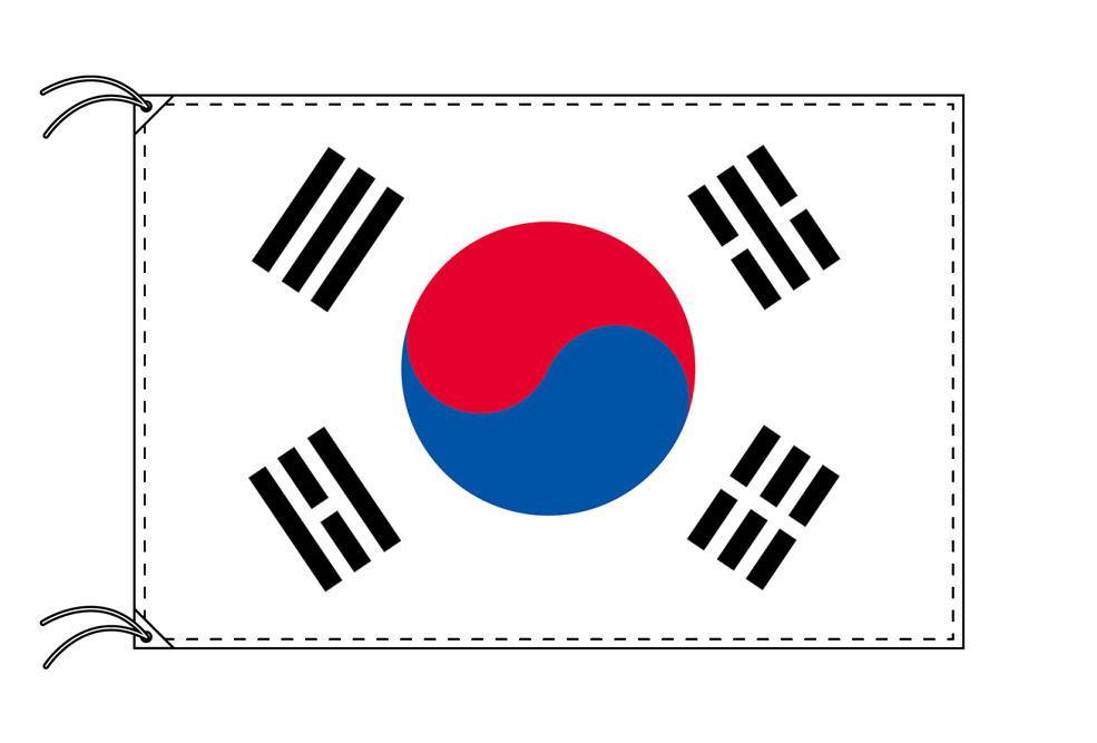 大韓民国[韓国]・国旗セット[DX]【アルミ合金ポール・取付部品付・テトロン国旗 サイズ70×105cm】安心の日本製