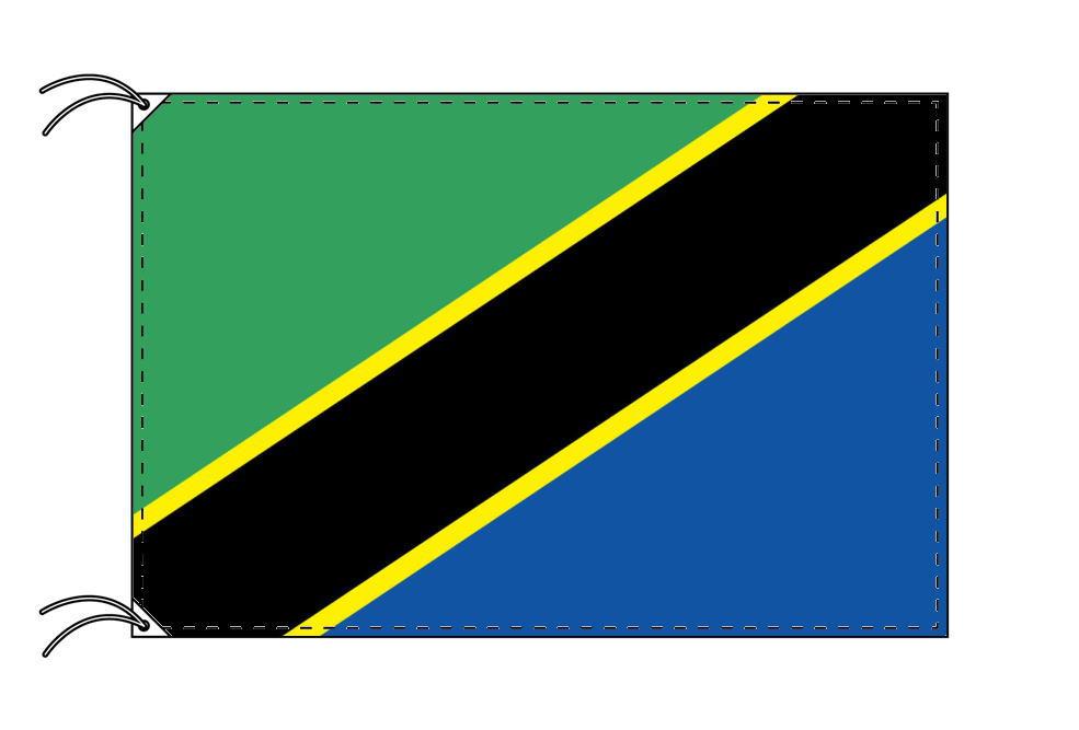 タンザニア・高級国旗セット(国旗70×105cm・ポール・竿頭・新型フロアスタンド付き)