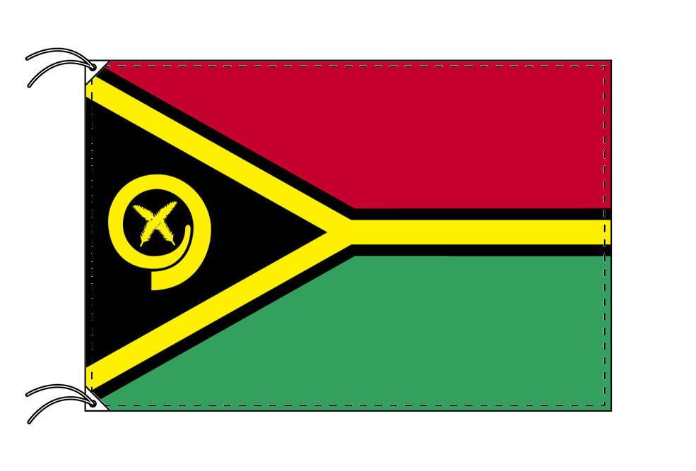 バヌアツ・高級大型国旗セット(サイズ90×135cm・ポール・新型フロアスタンド付き)