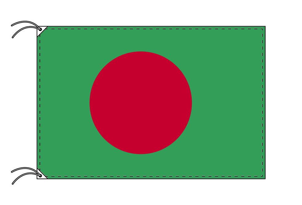 バングラディシュ・国旗セット[DX]【アルミ合金ポール・取付部品付・テトロン国旗 サイズ70×105cm】安心の日本製